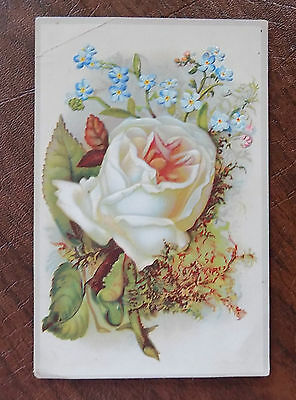 Victorian Trade Card, Flint's Akaba Coffee, Embossed, White Rose