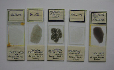 5 Various Geology Microscope Thin Section Slides by Gegory Bottley of London
