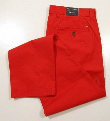 Tommy Hilfiger Men's Light Weight Cotton Custom Fit Red Chino Pants