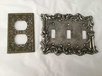 Two vintage Edmar switch plate covers -  outlet and triple toggle