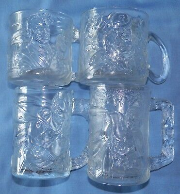 McDonalds BATMAN FOREVER Glass Mugs Cups ~ 1995 ~ Complete Set of 4 ~ New