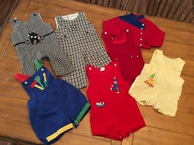 7 Piece Lot Vintage mid century infant baby Boy Clothes 6-18 months All seasons