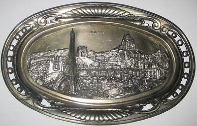 OVAL Cast METAL Wall PLAQUE w/PARIS LANDMARKS Vintage MADE in FRANCE
