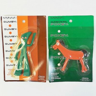 Vtg 1980's Gumby and Pokey Superflex Bendable Figures by Jesco