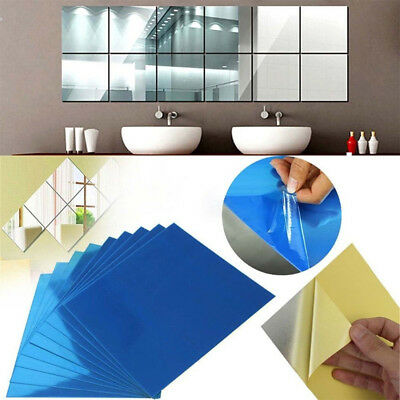 16/32Pcs Mirror Tile Wall Sticker Square Self Adhesive Stick On Removable DIY