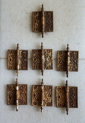 (7) Matching ANTIQUE Vintage 1877 DOOR HINGES * 3-1/2 x 3-1/2  DECORATIVE Hinge