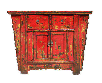 Chinese Rustic Rough Wood Distressed Red Side Table Cabinet cs3158