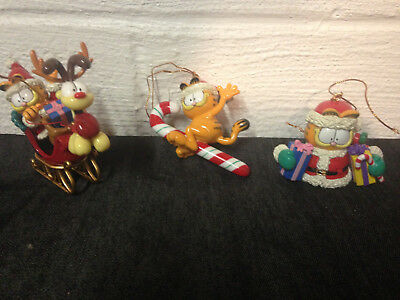 3 Vintage Garfield Christmas Ornaments Odie Sleigh Candycane Presents