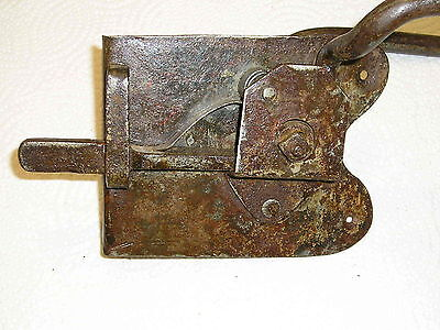 Large Primitive Early Rim Latch Door Wrought Iron Barn Shed Dutch Elbow Lock