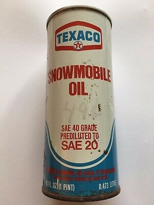 Vintage Texaco Snowmobile Oil 16oz SAE 40 Prediluted to SEA 20 Unopened