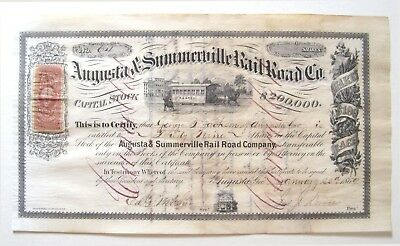 Augusta & Summerville (Georgia) Railroad Stock Certificate 1869