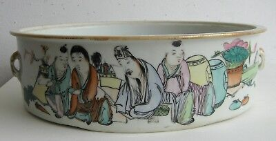 Fine Old Chinese Painted Porcelain Robed Scholar Figures Decorated Pot Bowl