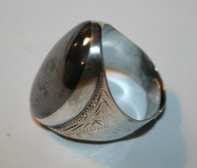 Womens Vintage Solid Sterling Silver Ring 1970s Grey Stone Jewellery Gift Size:P