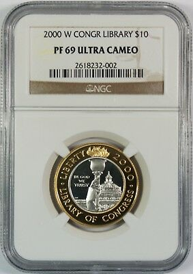 2000-W $10 Proof Library Conress Comm. Gold Platinum Coin NGC PR69 Ultra Cameo