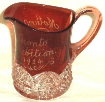 EAPG Toronto Exhibition 1924 Dark Ruby Button & Arch Pitcher Glass Mother
