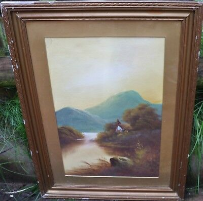 Old Large Gilt Framed & Glazed Painting Of Landscape  (2