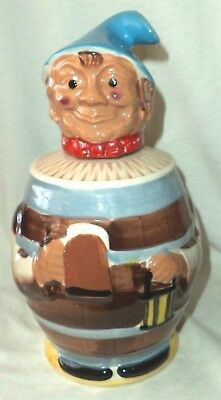 Beer Barrel Man Figural Stein Cork Lined Lid Hand Painted Made in Japan 6732