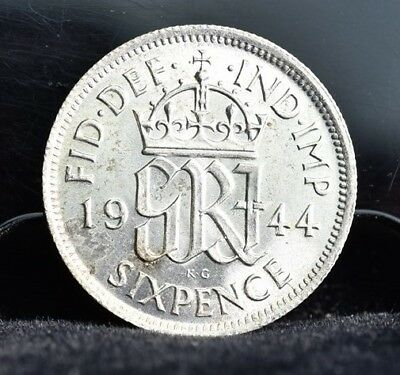 1944 Great Britain Sixpence Silver - BU