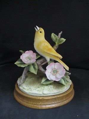 Vintage Andrea By Sadek Canary Figurine With Two Pink Flowers