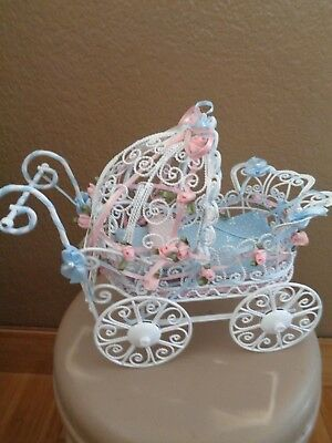 Vtg SO Pretty! white metal pink blue flowers ribbon doll carriage stroller 9x7
