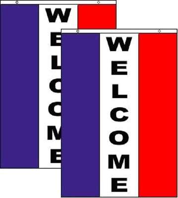 WELCOME Vertical Business Advertising Banner Polyester 3x5 Foot Flag Set of 2