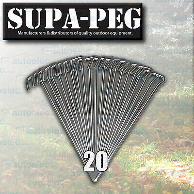 20 x 300mm x 8mm SUPA PEG TENT ANNEX PEGS HI TENSILE STEEL KEY HEAD CHISEL POINT