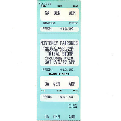 PETER TOSH & CLASH Concert Ticket Stub MONTEREY 9/8/79 CALIFORNIA FAMILY DOG