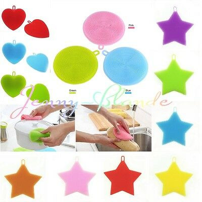 Heart/Star Silicone Dish Scrubber Sponge Brush Kitchen Washing Cleaning Tool