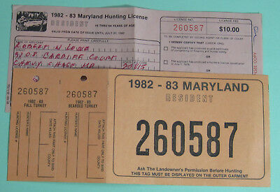 Vintage maryland hunting licenses 2 1968 1969 cad for Maryland fishing license