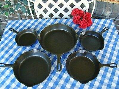 Griswold Cast Iron Grooved Handle 5 Piece Skillet Set – #3, #4, #5, #6, and #8
