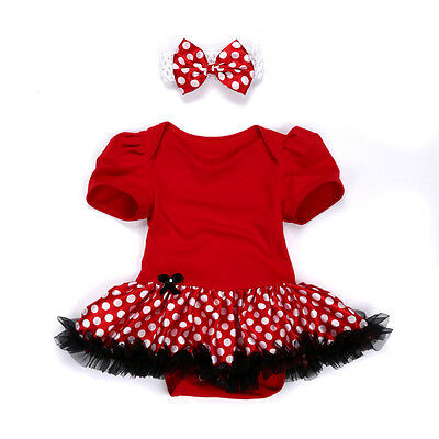 Baby Girl Newborn Headband+Romper Jumpsuit Party Dress Outfit Tutu Clothes 0-3M