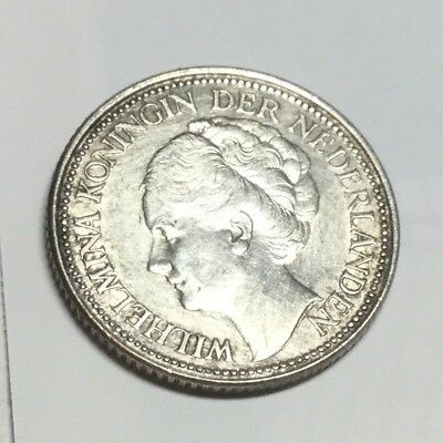 NETHERLANDS 1928 25 Cent silver coin extra fine condition