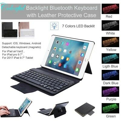 "9.7"" Backlit Bluetooth Keyboard + Leather Case For iPad Air Air2 iPad Pro Lot"