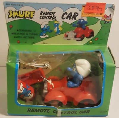Vintage SMURFS Remote Control Car From 1983 (MINT IN THE BOX)