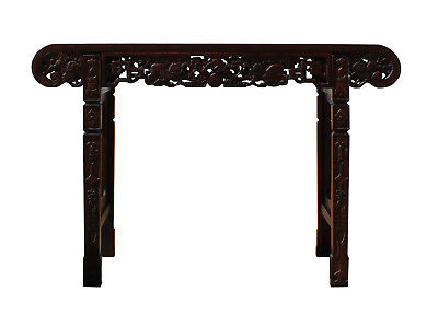 Chinese Brown Huali Rosewood Scroll Foo Dogs Altar Table cs3169