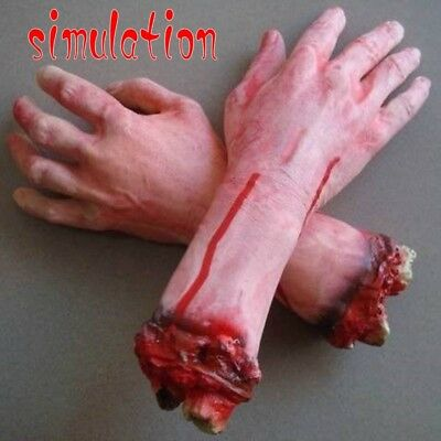Realistic Hands Terror Bloody Fake Body Parts Severed Arm Hand Halloween Prop LE