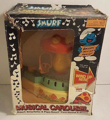 Vintage SMURFS Musical Carousel From 1983 (MINT IN THE BOX)