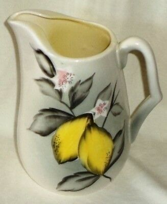 Enterprise Hand Painted Pitcher Jug Black Pink Yellow Blossoms Made in Japan