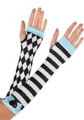 Alice in Wonderland Black & White Alice Arm Warmers -NEW!!