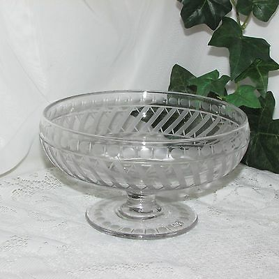 Large Vintage Footed Glass Fruit Bowl Etched Frosted Clear Compote Centerpiece