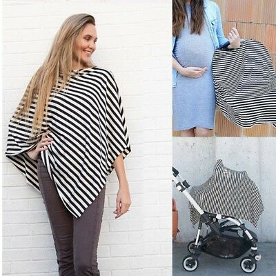 Nursing Breastfeeding Cover Scarf Baby Car Seat Canopy Diagonal Stripe Shawl new