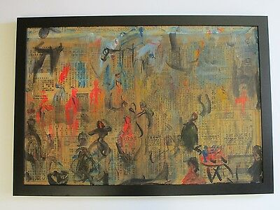 Large Cucaro  Figural Abstract Expressionism Collage Decoupage Modernism Vintage