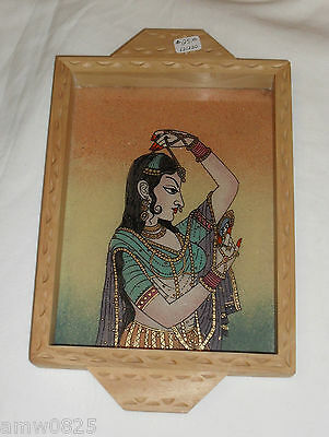 New Hand Crafted Wooden Tray Crushed Gemstone Painting Woman India Art Decor