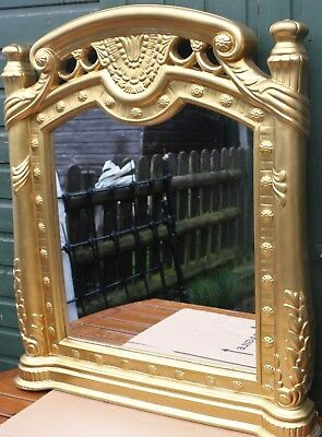 Great Looking Very Large Wide Fancy Gilt Framedovermantle Type Wall Mirror