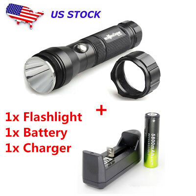 Tactical 10000LM 3-modes XML-T6 LED Flashlight Torch&18650 Battery&Charger USA