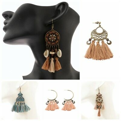 Fashion Bohemian Colorful Retro Hook Pendant Women's Charm Long Tassel Earrings