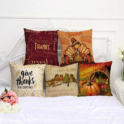 Christmas Style Cotton Linen Sofa Waist Cushion Pillow Case Cover Thanksgiving