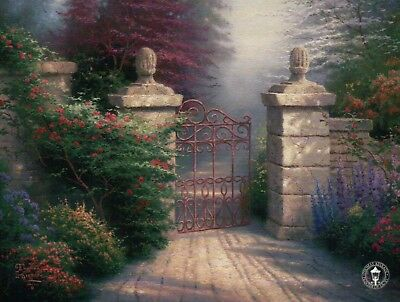 The Open Gate --- Painter of Light Art Card --- Thomas Kinkade Dealer Postcard