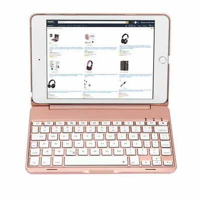 iPad Mini 4 Keyboard Case 7 Color Backlit Bluetooth 3.0 Built-In Keyboard Cover