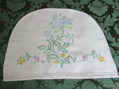 Vintage Tea Cosy Cover - Hand Embroidered Flowers